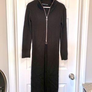 CALVIN TRAN Designer Black Half Zip Long Cardigan